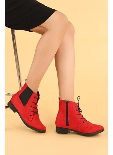 Ayakland Ayakland 387-01 Süet Baðcıklı Termo Taban Bayan Bot Ayakkabı Kırmızı